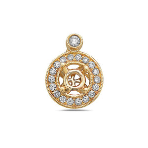 Double Circle with inside blended Cross Women's Pendant With 0.19 CT Diamonds available in White & Yellow Gold