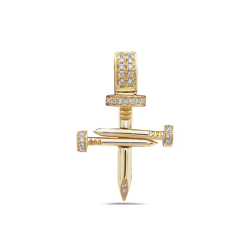 Unisex 14K Yellow Gold Cross of Nails Pendant with 0.16 CT Diamonds