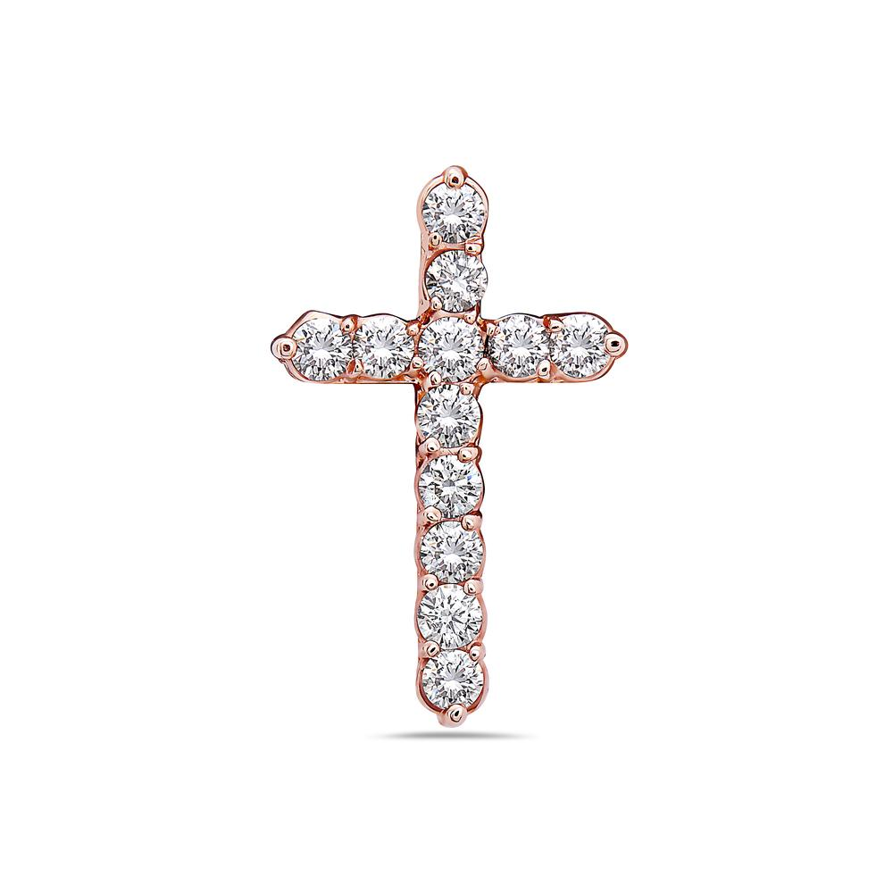 Unisex 14K Rose Gold Cross Pendant with 2.50 CT Diamonds