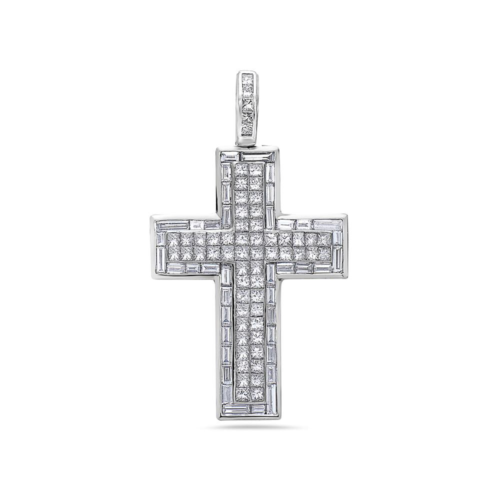 18K White Gold Cross Pendant with 9.75 CT Diamonds