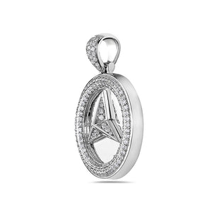 Unisex 14K White Gold Mercedes Pendant with 2.05 CT Diamonds