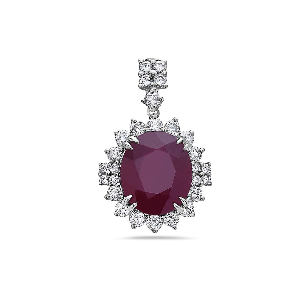 18K White Gold Women's Pendant with 2.60CT Diamonds & Ruby 12.17