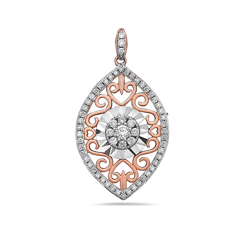 18K Rose Gold Floating Vertical Eye Women's Pendant with 0.48CT Diamonds