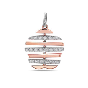 18K Mix Rose & White Gold Floating Lines Chain Women's Pendant with 0.33CT Diamonds