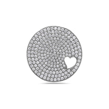 Load image into Gallery viewer, 18K White Gold Circle with Heart Women's Pendant with 2.72CT Diamonds