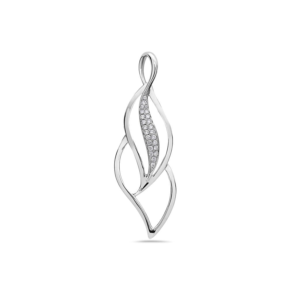 14K White Gold Floating Leaves Figure Women's Pendant with 0.20CT Diamonds