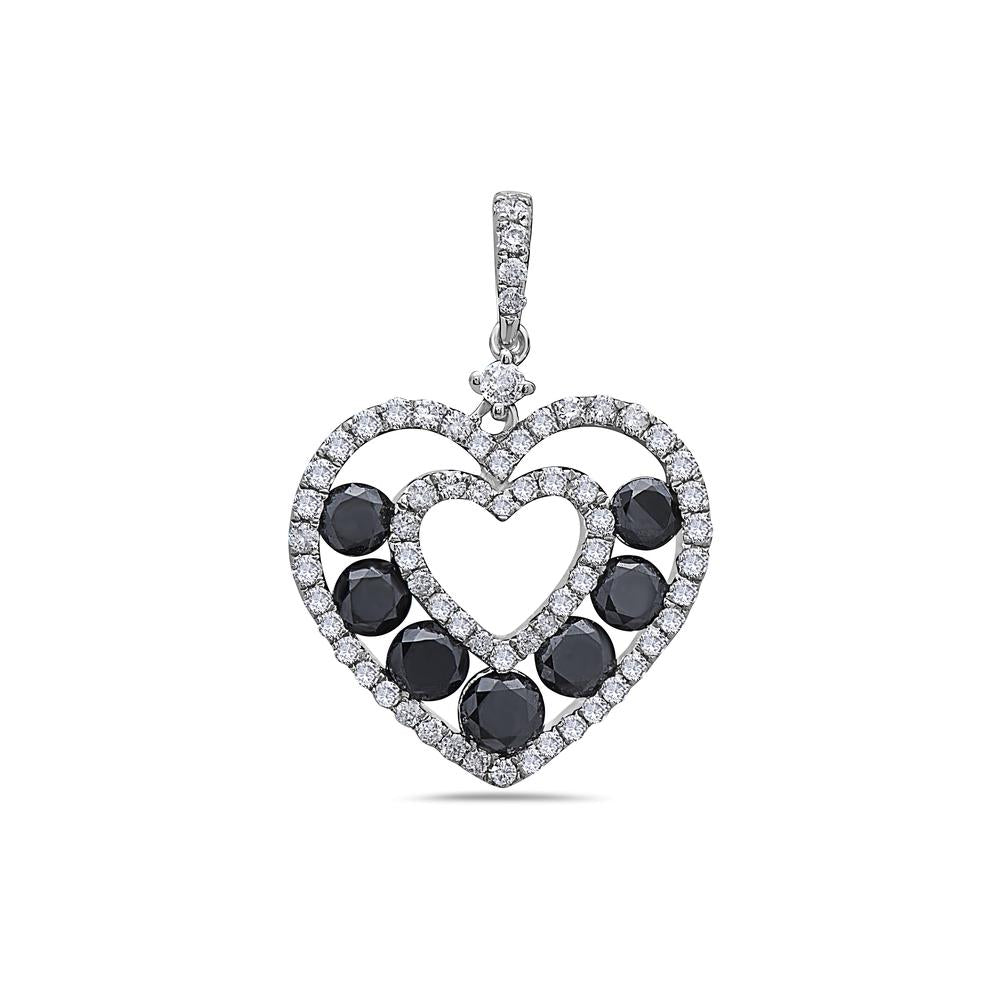 14K White Gold Floating Hearts Women's Pendant with 1.76CT Diamonds