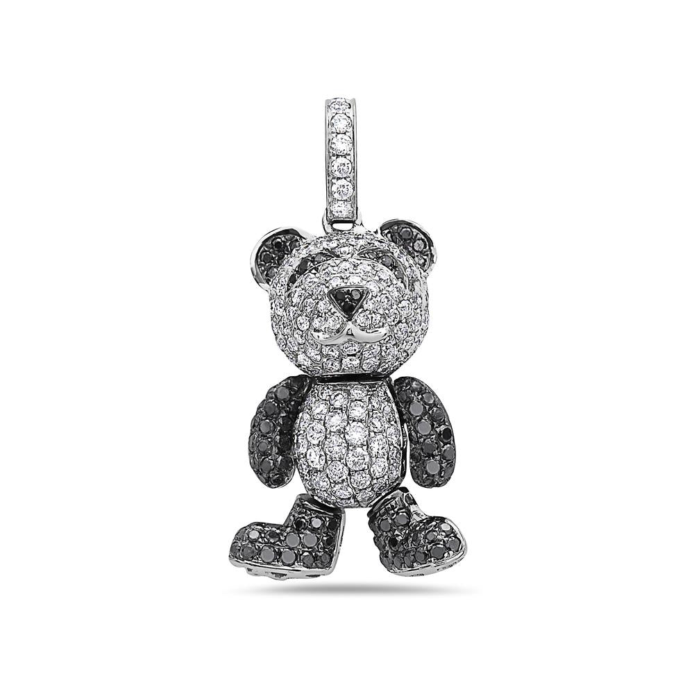 18K White Gold Teddy Bear Women's Pendant with 2.00CT Diamonds