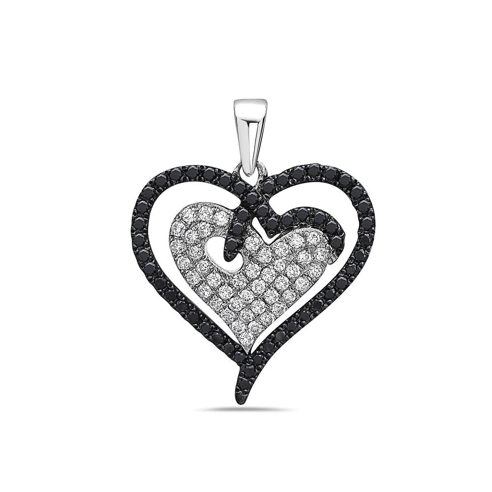 14K White Gold Double Heart Women's Pendant with 0.95CT Diamonds