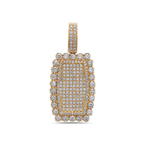 14K Rounded Rectangle Women's Pendant with 3.11CT Diamonds available in Rose & Yellow Gold