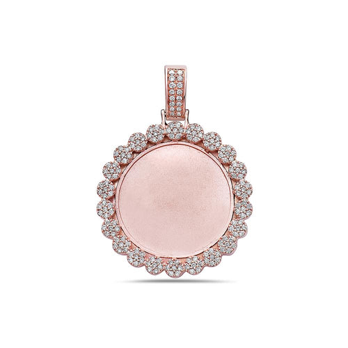 14K Rose Gold Blank Bezel Pendant with 1.76 CT Diamonds