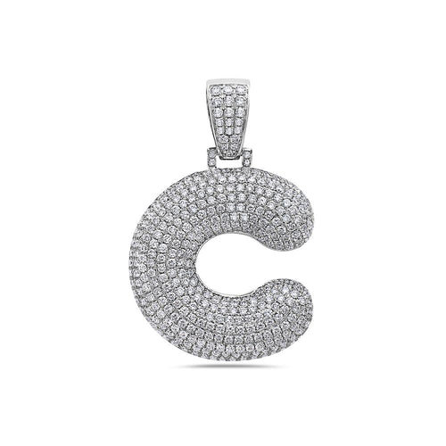 Men's 14K White Gold 'C' Pendant with 7.44 CT Diamonds