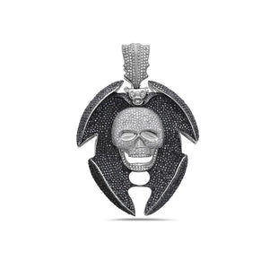 10K White Gold Skull Pendant with 13.55 CT Diamonds
