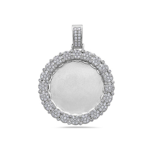 Unisex 14K White Gold Blank Bezel Pendant with 2.23 CT Diamonds