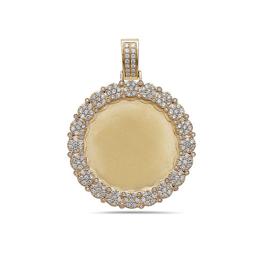Unisex 14K Yellow Gold Blank Bezel Pendant with 2.23 CT Diamonds