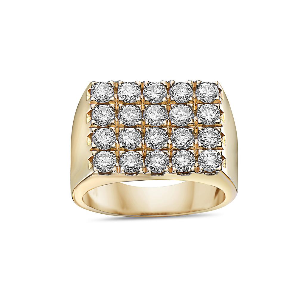 Men's 14K Yellow Gold Ring with 3.16 CT Diamonds