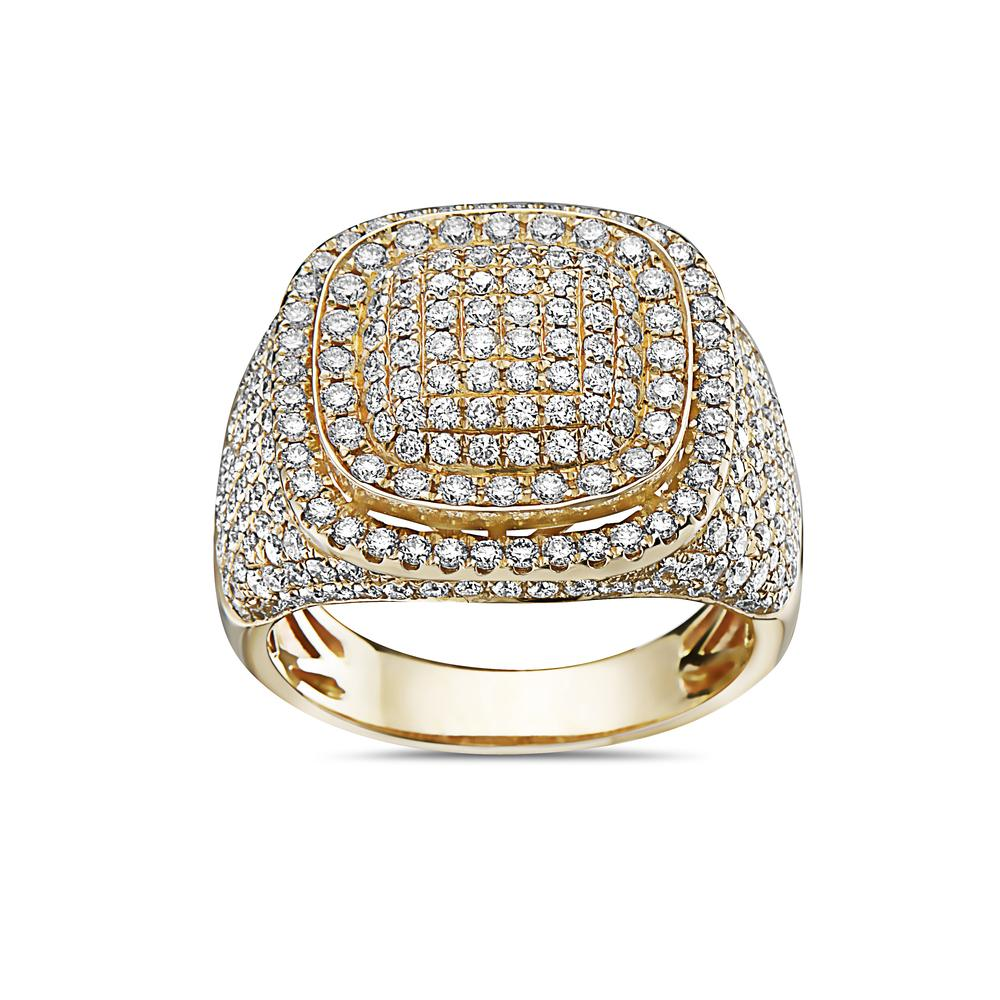 Men's 14K Yellow Gold Ring with 3.01 CT Diamonds
