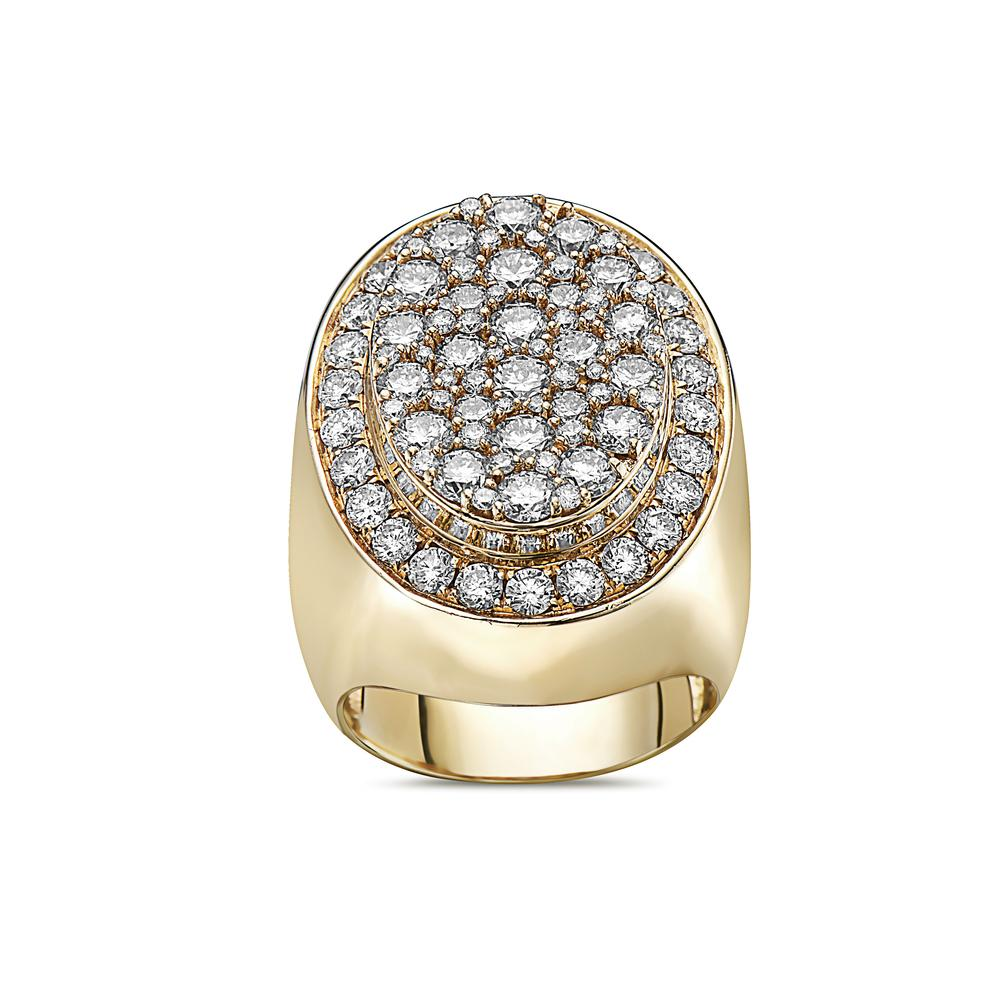 Men's 14K Yellow Gold Ring with 5.47 CT Diamonds