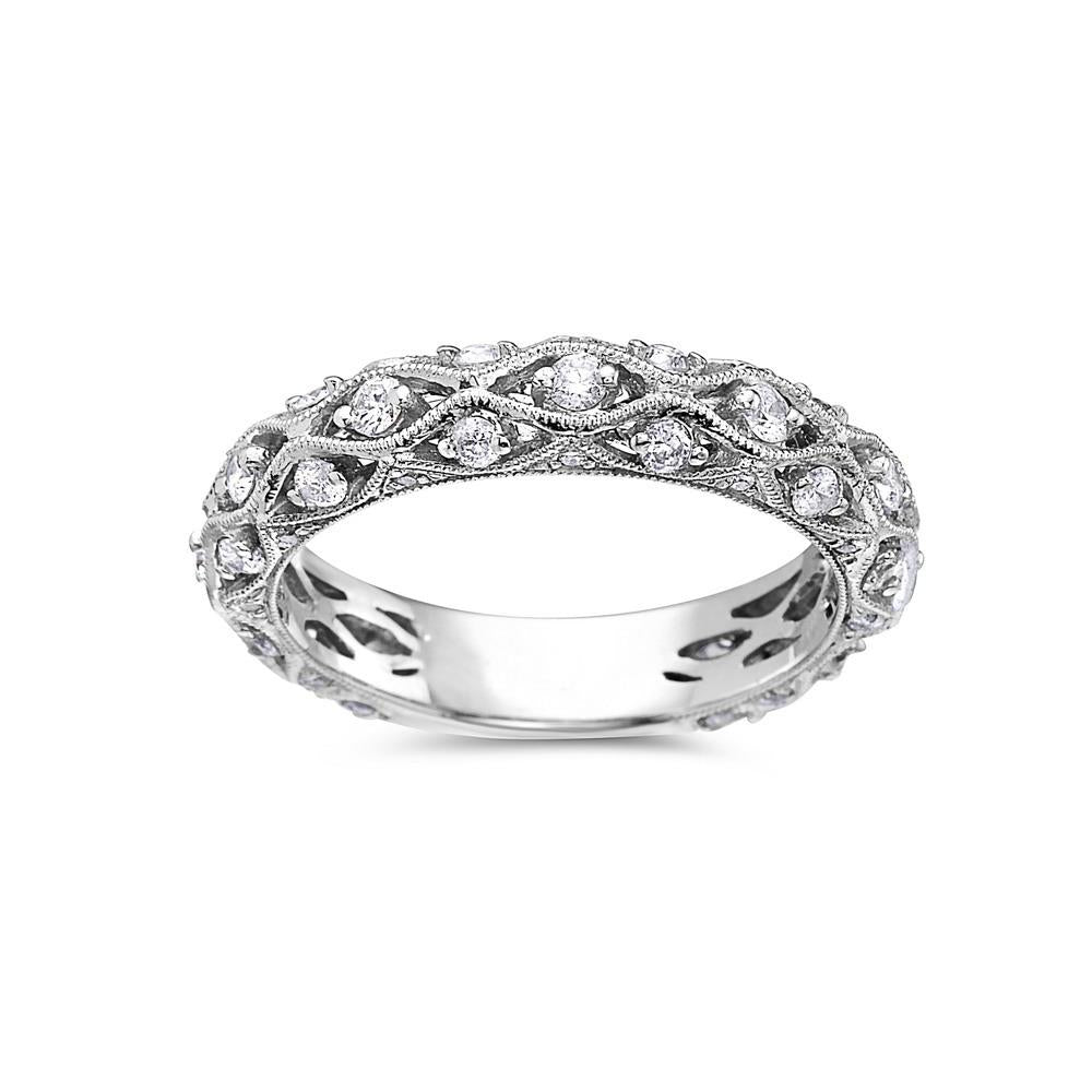 Ladies 18k White Gold With 0.75CT Wedding Band