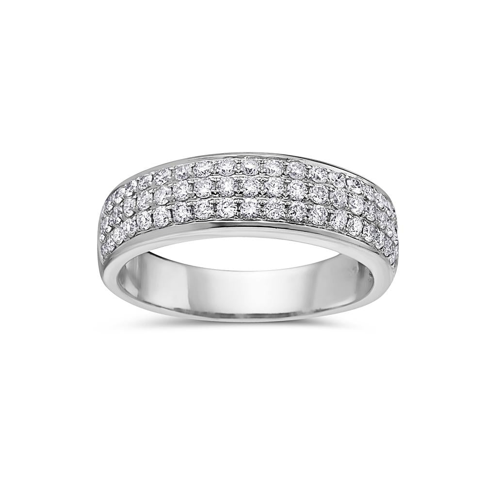 Ladies 14K White Gold With 0.78 CT Diamonds Wedding Band
