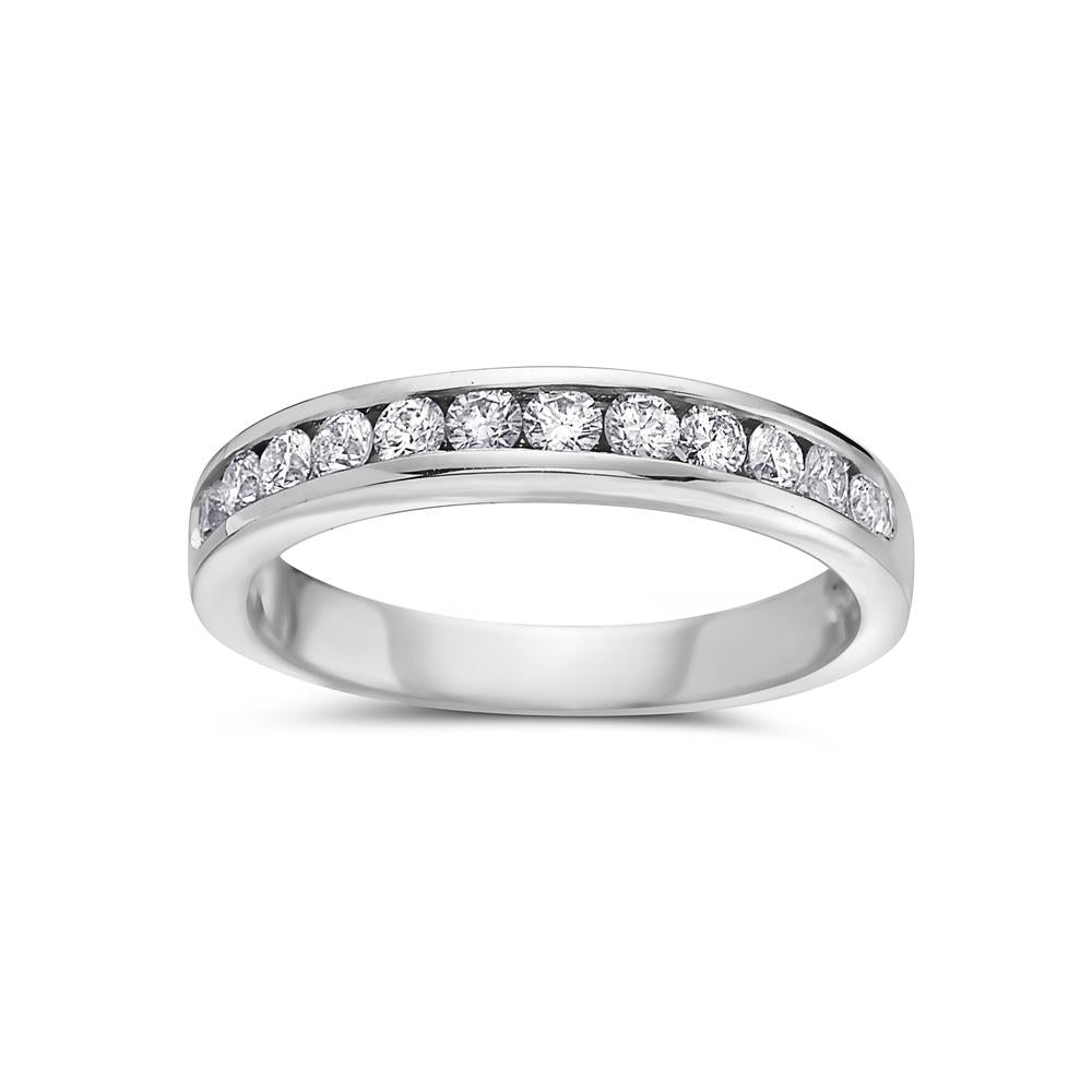 Ladies 18k White Gold With 0.58 CT Diamonds Wedding Band