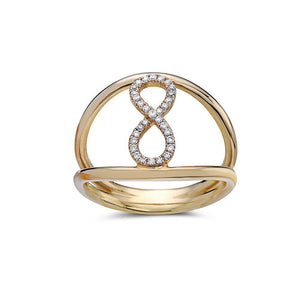 Ladies 18k Yellow Gold With 0.11 CT Right Hand Ring