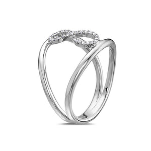 Ladies 18k White Gold With 0.11 CT Right Hand Ring