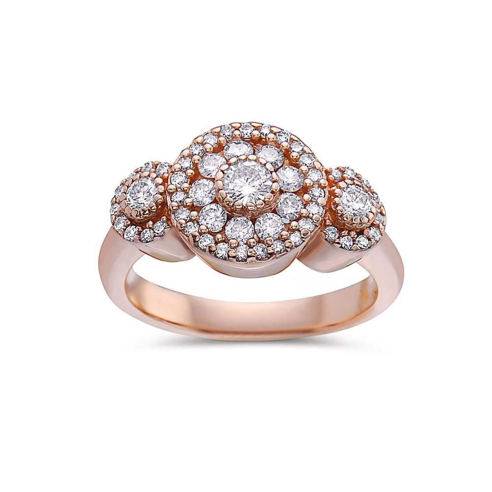 Ladies 14k Rose Gold With 1 CT Right Hand Ring