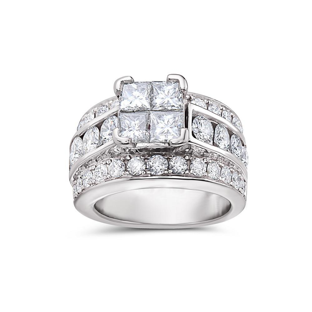 Ladies 14k White Gold With 3.34 CT Right Hand Ring