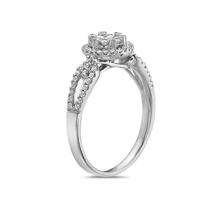 Ladies 14k White Gold With 0.49CT Right Hand Ring