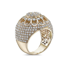 Load image into Gallery viewer, Men's 14K Yellow Gold Cluster Ring with 6.41 CT Diamonds