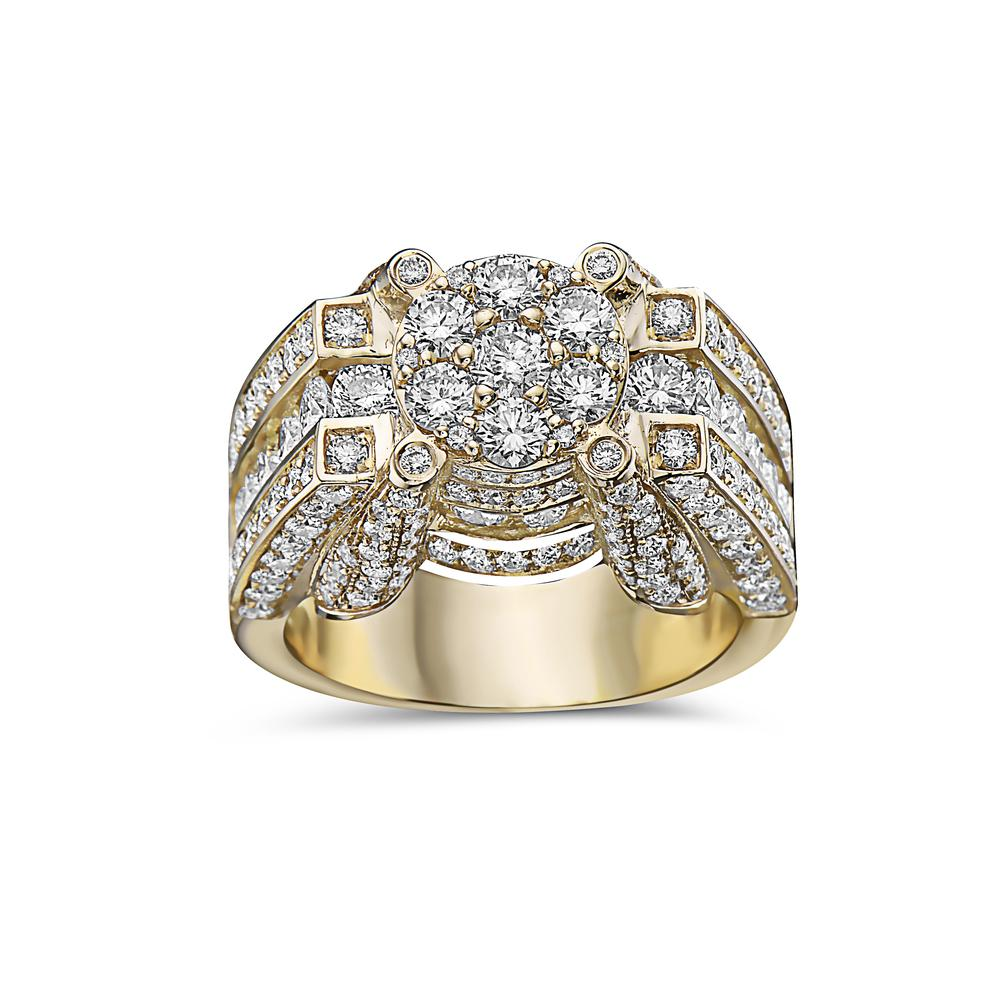 Men's 14K Yellow Gold Ring with 4.90 CT Diamonds