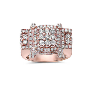Men's 14K Rose Gold Ring with 4.64 CT Diamonds