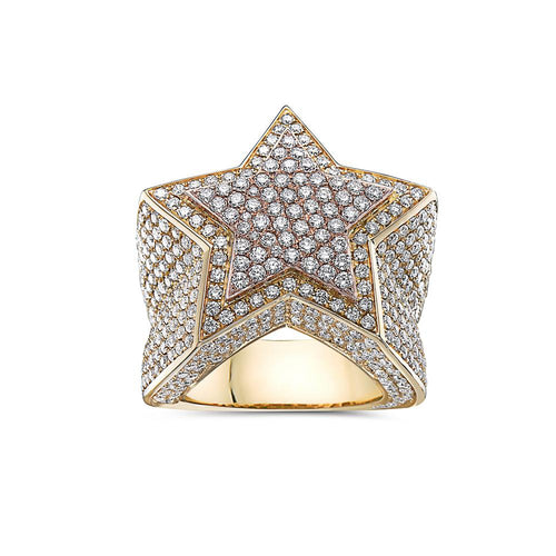 Men's 14K Rose and Yellow Gold Star Ring with 8.14 CT Diamonds
