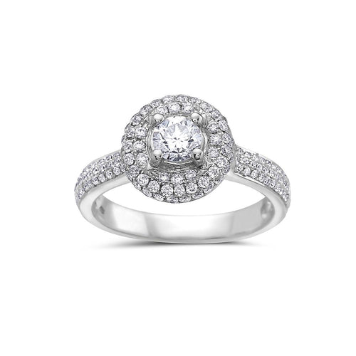 Ladies 14k White Gold With 1.15 CT Halo Engagement Ring