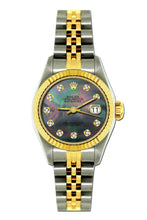 Load image into Gallery viewer, Rolex Datejust 26mm Yellow Gold and Stainless Steel Bracelet Black Mother of Pearl Dial