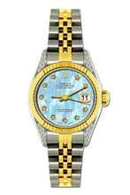 Load image into Gallery viewer, Rolex Datejust 26mm Yellow Gold and Stainless Steel Bracelet Pattens Blue Dial w/ Diamond Lugs