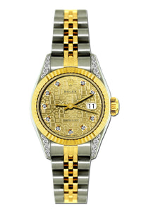 Rolex Datejust 26mm Yellow Gold and Stainless Steel Bracelet Champagne Rolex Dial w/ Diamond Lugs