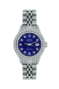 Rolex Datejust 26mm Stainless Steel Bracelet Midnight Blue Dial w/ Diamond Bezel