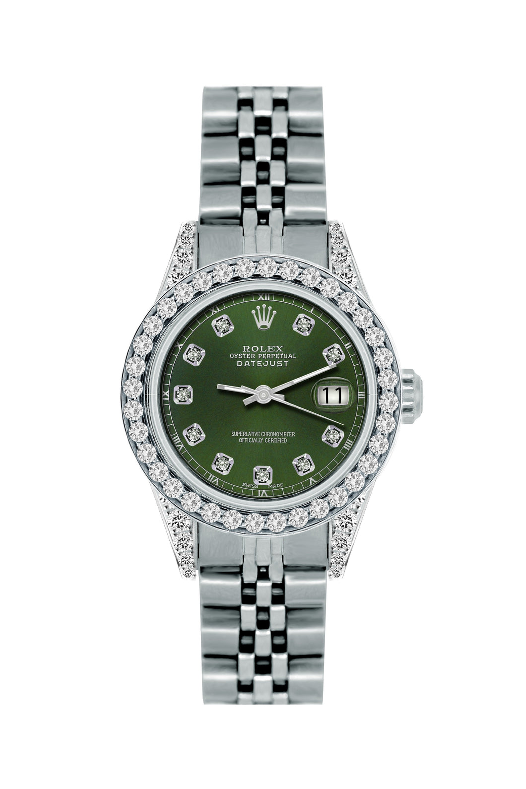 Rolex Datejust 26mm Stainless Steel Bracelet Black Forest Dial w/ Diamond Bezel and Lugs