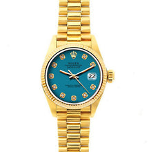 Load image into Gallery viewer, Rolex Datejust 26mm 18k Yellow Gold President Bracelet Blue Dial
