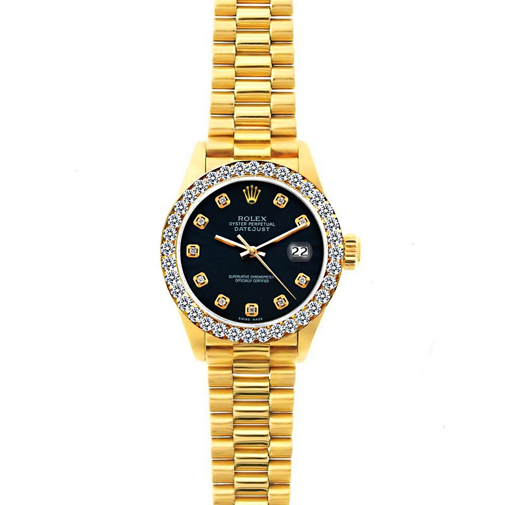 Rolex Datejust 26mm 18k Yellow Gold President Bracelet Bokara Grey Dial w/ Diamond Bezel