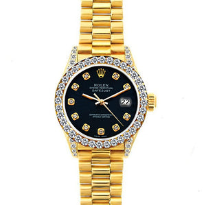 Rolex Datejust 26mm 18k Yellow Gold President Bracelet Bokara Grey Dial w/ Diamond Bezel and Lugs