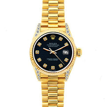 Load image into Gallery viewer, Rolex Datejust 26mm 18k Yellow Gold President Bracelet Bokara Grey Dial w/ Diamond Lugs