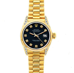 Rolex Datejust 26mm 18k Yellow Gold President Bracelet Bokara Grey Dial w/ Diamond Lugs