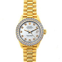 Load image into Gallery viewer, Rolex Datejust 26mm 18k Yellow Gold President Bracelet Old Lace Dial w/ Diamond Bezel