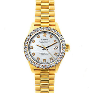 Rolex Datejust 26mm 18k Yellow Gold President Bracelet Old Lace Dial w/ Diamond Bezel