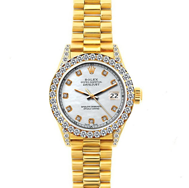 Rolex Datejust 26mm 18k Yellow Gold President Bracelet Old Lace w/ Diamond Bezel and Lugs