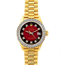 Load image into Gallery viewer, Rolex Datejust 26mm 18k Yellow Gold President Bracelet Red and Black Dial w/ Diamond Bezel