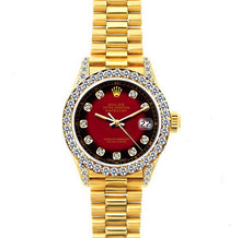 Load image into Gallery viewer, Rolex Datejust 26mm 18k Yellow Gold President Bracelet Red and Black w/ Diamond Bezel and Lugs